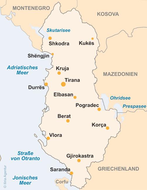karte albanien Albanien Landkarten   touristische Landkarte Albaniens